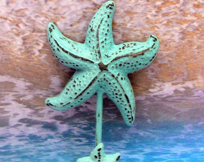 Starfish Cast Iron Wall Hook Blue Shabby Chic Cottage Chic Beach Nautical Home Decor