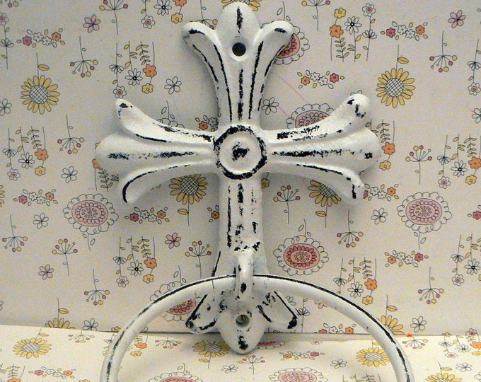 Cross Cast Iron Shabby Chic White Small Hand Towel Wall Holder Home Decor