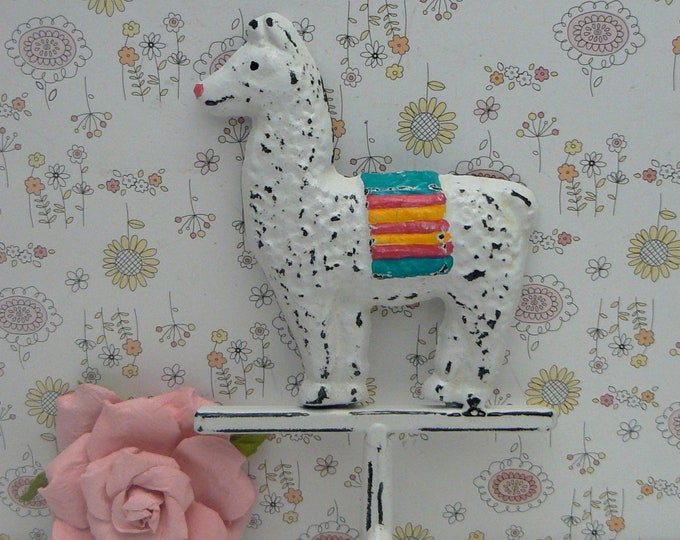 Llama White Wall Hook Shabby Chic Rainbow Saddle Blanket