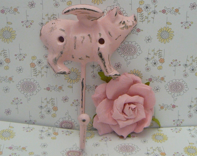 Flying Pig Pink Wall Hook When Pigs Fly Shabby Chic Rustic Farmhouse Decor