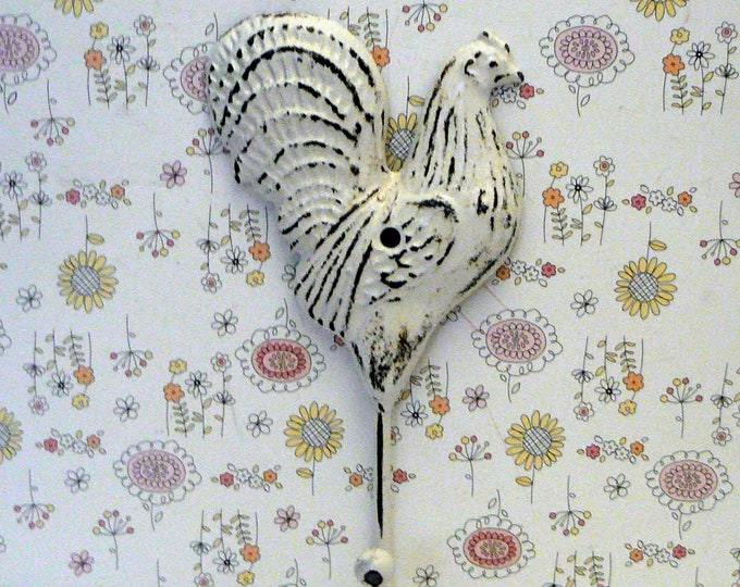 Rooster Shabby Chic White Farmhouse Country Wall Hook Home Decor