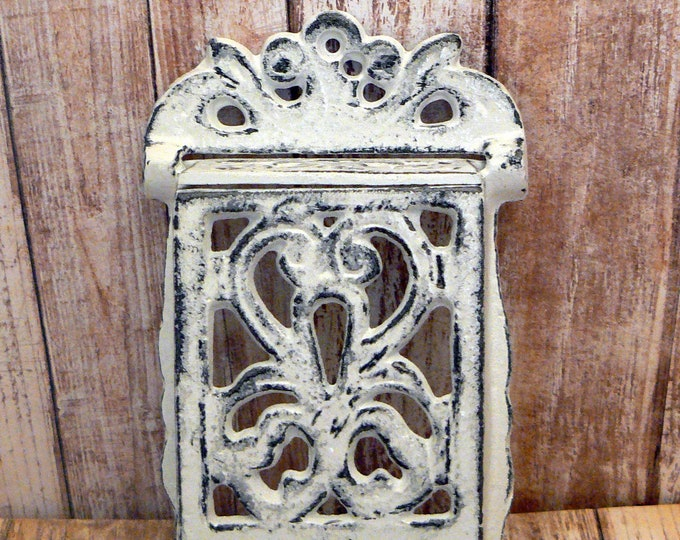 Matchbox White Cast Iron Match Holder Wall Decor Rustic Farmhouse Shabby Chic
