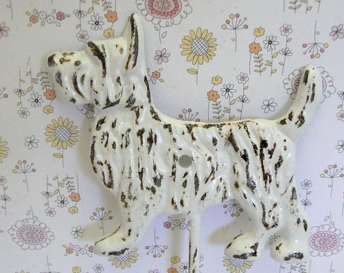 Scottish Terrier Dog Hook Shabby Chic White Scottie Canine Gift Idea