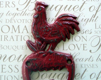 Rooster Red Shabby Elegance Cast Iron Wall Pet Leash Key Jewelry Hand Towel Hook Rustic French Country Kitchen Mudroom Farmhouse Hook