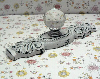 Cabinet Drawer Pull Shabby Chic Cast Iron White Ornate Backplate acrylic Knob French Paris Do It Youself DIY