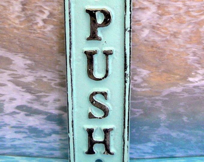 Push Cast Iron Beach Blue Wall Sign Shabby Chic Home Office Decor