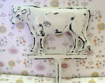 Cow Wall Hook Classic White Shabby Elegance Country Chic Distressed Cast Iron Rustic French Farmhouse Barnyard Animal Hook
