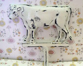 Cow Wall Hook Shabby Chic White Farmhouse Barnyard Animal Hook