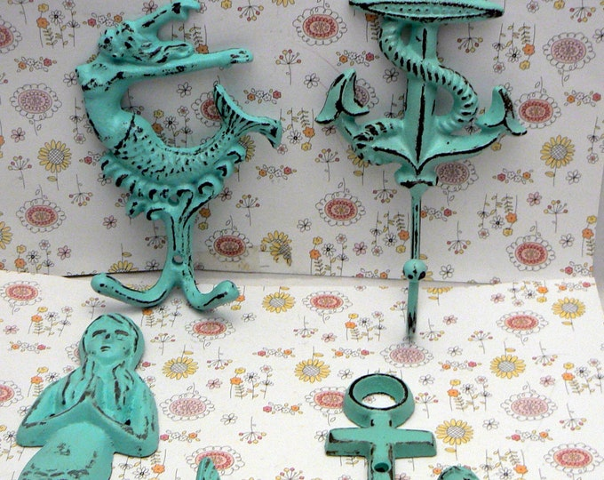 Mermaid Anchor Seashell Seahorse 6 Hook Set Blue Cottage Chic Shabby Chic Wall Nautical Beach Decor