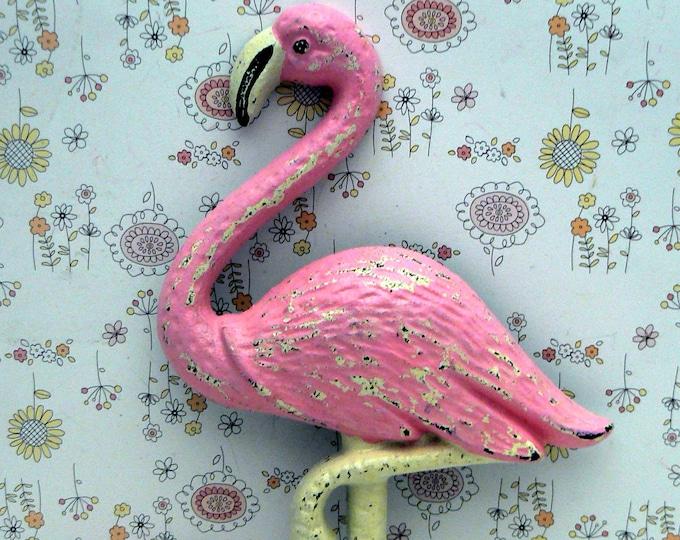 Flamingo Cast Iron Wall Hook Shabby Chic Pink Rustic Beach Decor