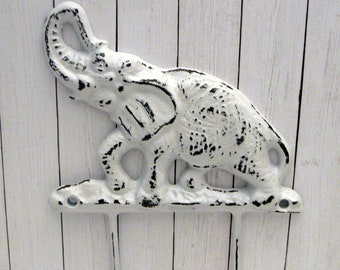 Elephant Hook Shabby Chic White Nursery Entryway Home Decor