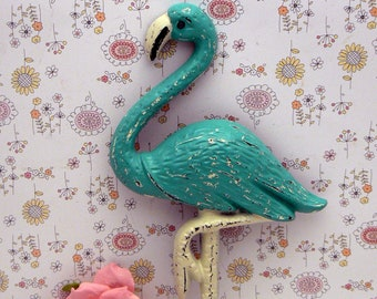 Flamingo Cast Iron Wall Hook Shabby Chic Turquoise Aqua Rustic Beach Decor