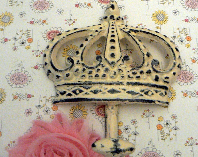 Crown Cast Iron Creamy Off White Wall Hook French Royalty Paris Regal Shabby Chippy Ornate Bathroom Entryway Princess Bedroom Kitchen Hook