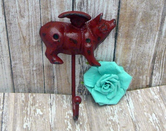 Flying Pig Red Wall Hook When Pigs Fly Shabby Chic Rustic Farmhouse Decor