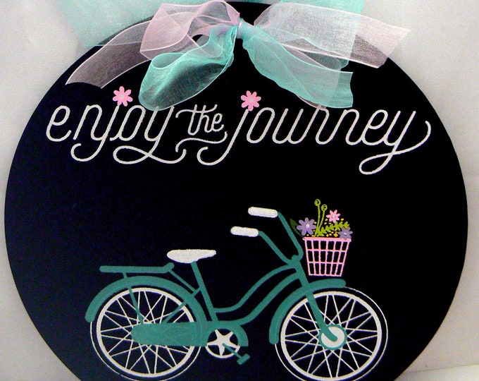 Chalk Couture Enjoy the Journey Round Chalkboard Vintage Bicycle Flower Basket Sign