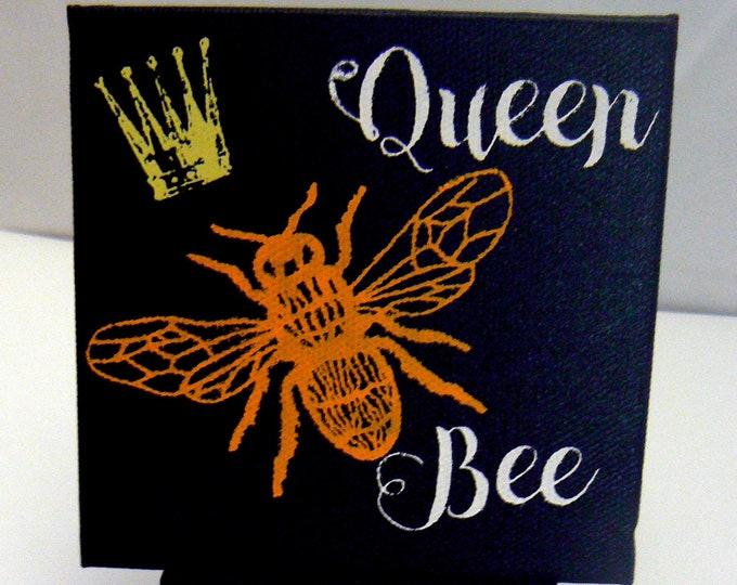 Queen Bee Mini Chalk Paste Bumblebee Art Work on Miniature Easel