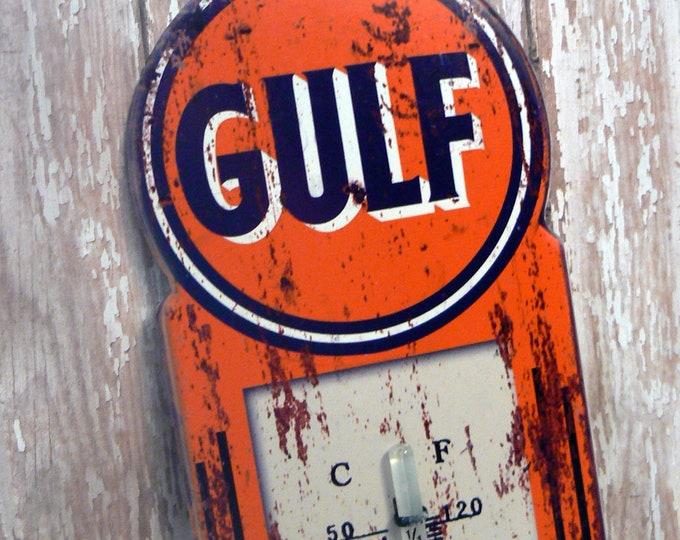 Gulf Oil Gasoline Wall Thermometer Man Cave Garage Shop Porch Kitchen Repro