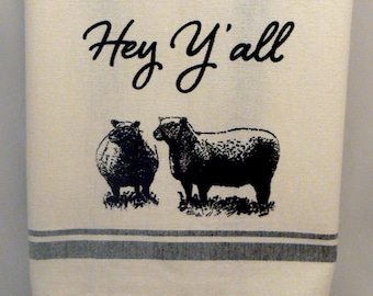 Farmhouse Hand Towel Hey Y'all Sheep Black Striped Cotton Kitchen Towel