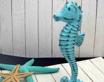 Seahorse Cast Iron Statue Figurine Aqua Blue Shabby Chic Beach House Home Decor