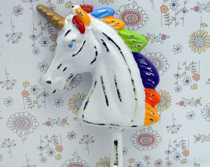 Unicorn Wall Hook Shabby Chic White Rainbow Color Mane Cast Iron Hook