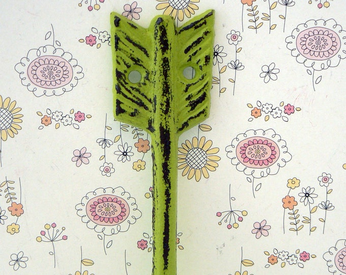Arrow Cast Iron Boho Shabby Chic Wall Hook Lime Green Bohemian Home Decor