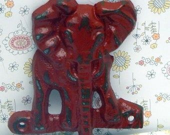 Elephant Cast Iron Tusk Red Wall Hook Safari Nursery Home Decor