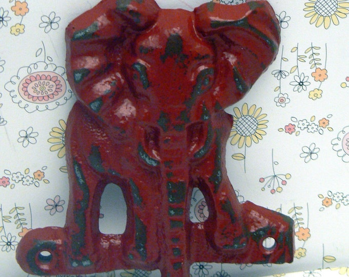 Elephant Cast Iron Tusk Red Wall Hook Safari Nursery Home Decor