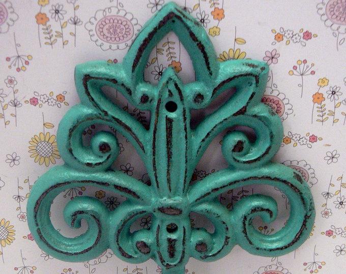 Fleur de lis Cast Iron FDL Turquoise Blue Wall Hook Home Decor