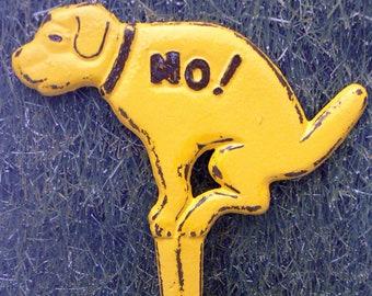 Dog No Poop Pee Cast Iron Yard Stake Shabby Chic Yellow Garden Decor