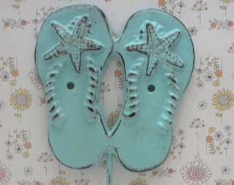 Flip Flops Starfish Hook Blue Cottage Shabby Chic Beach Nautical Home Decor
