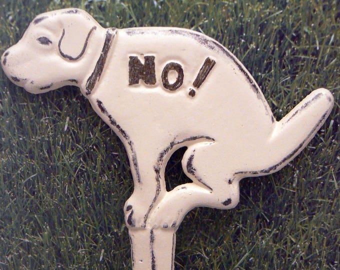 Dog No Poop Pee Cast Iron Yard Stake Shabby Chic Off White Garden Decor