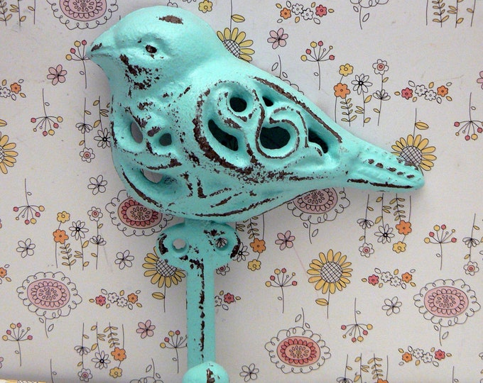 Bird Cast Iron Hook Shabby Chic Beach Blue Home Decor