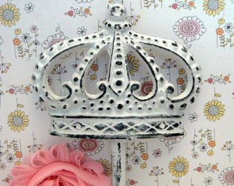 Crown Cast Iron White Wall Hook French Royalty Paris Regal Shabby Elegance Ornate Bathroom Entryway Princess Bedroom Kitchen Hook