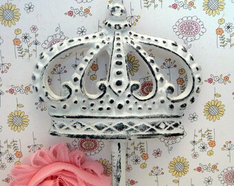 Crown Cast Iron White Wall Hook Shabby Chic Princess Queen Home Decor