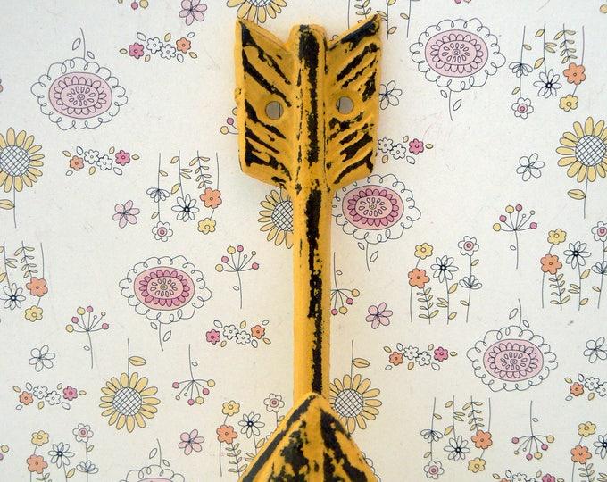 Arrow Cast Iron Boho Shabby Chic Wall Hook Yellow Bohemian Home Decor