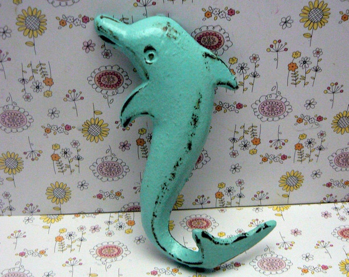 Dolphin Cast Iron Wall Hook Blue Shabby Chic Cottage Chic Beach House Home Decor