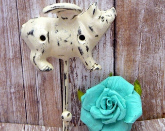 Flying Pig OFF White Wall Hook When Pigs Fly Shabby Chic Rustic Farmhouse Decor