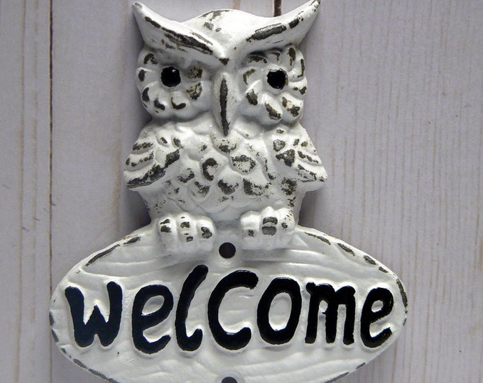 Owl Welcome Wall Hook Shabby Chic White Metal Cast Iron Leash Keys Mudroom Key Woodland Rustic Woodsy Cabin Owl Small Entryway Double Hooks