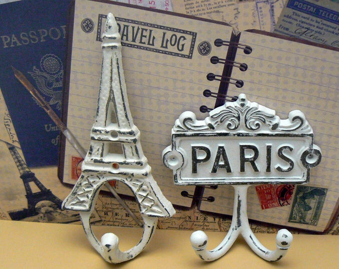 Eiffel Tower Paris Cast Iron Pair Wall Hooks White French Shabby Chic Home Decor