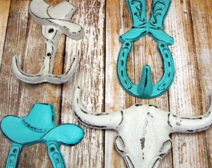 Cowboy Cowgirl Country Boot Horseshoe 3 Hook Set Aqua White Longhorn Decor 4 Lot