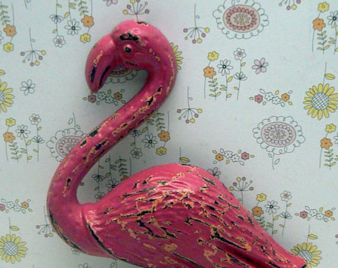 Flamingo Cast Iron Wall Hook Shabby Chic Hot Pink Rustic Beach Decor
