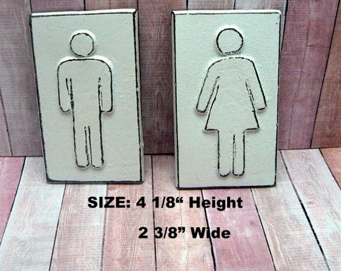 Men Womens Cast Iron Bathroom Wall Sign Shabby Chic White Home Office Decor