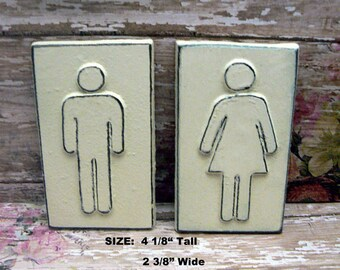 Men Womens Cast Iron Bathroom Wall Sign Shabby Chic OFF White Home Office Decor