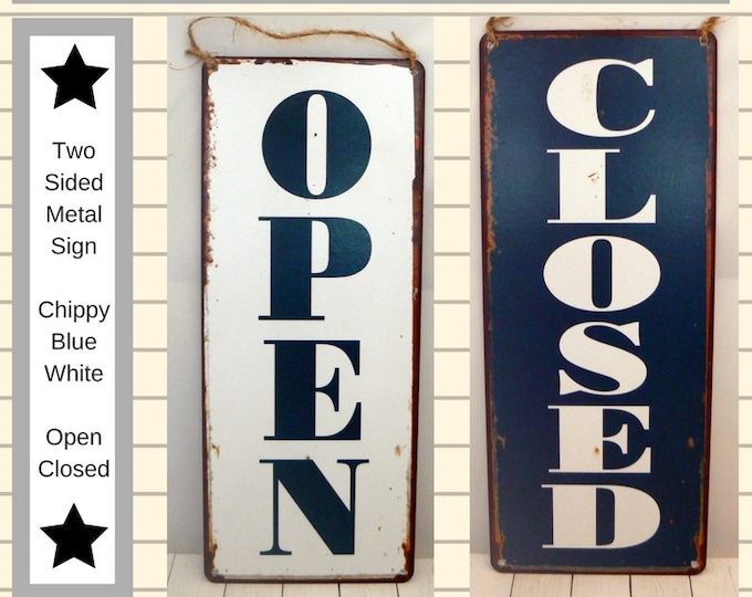 Open Closed Metal Sign Business Double Sided Door Hanger