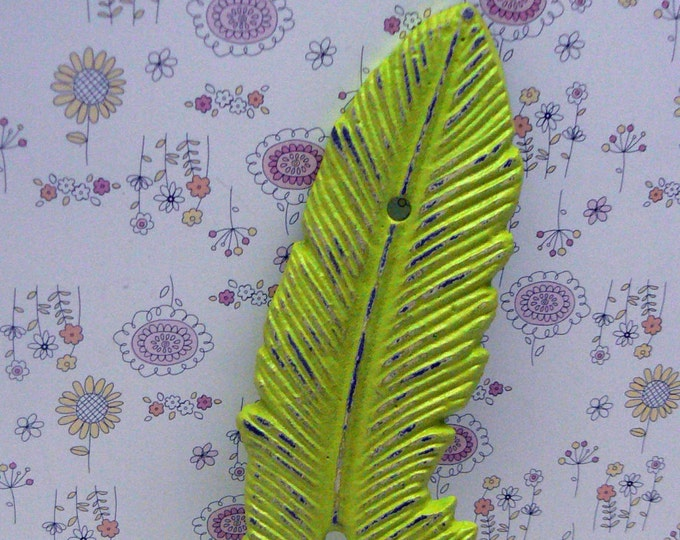 Feather Cast Iron Boho Wall Hook Shabby Chic Retro Lime Green Bohemian Home Decor