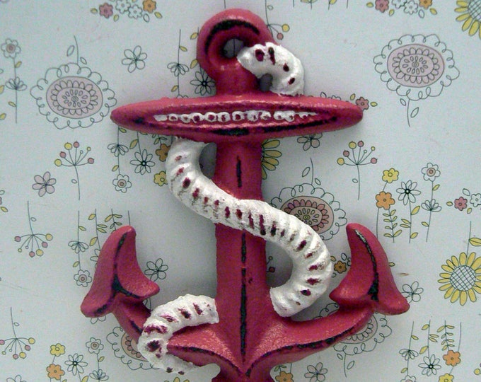 Anchor Cast Iron Wall Hook Pink Shabby Chic Cottage Chic Beach Nautical Home Decor