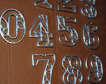 House Mailbox Numbers 4.5 Inches Tall Cast Iron Metallic Silver Chrome Victorian Swirl Address Accent Table Marker Number