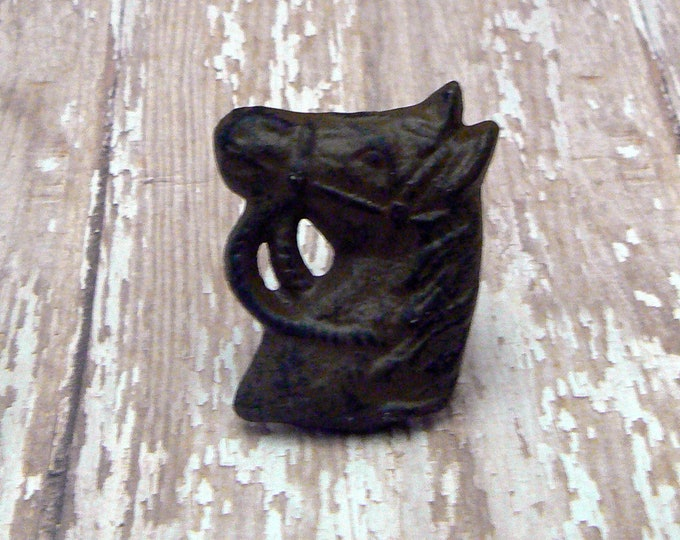 Horse Head Knob Horsehead Natural Cast Iron Equestrian Country Western Knob