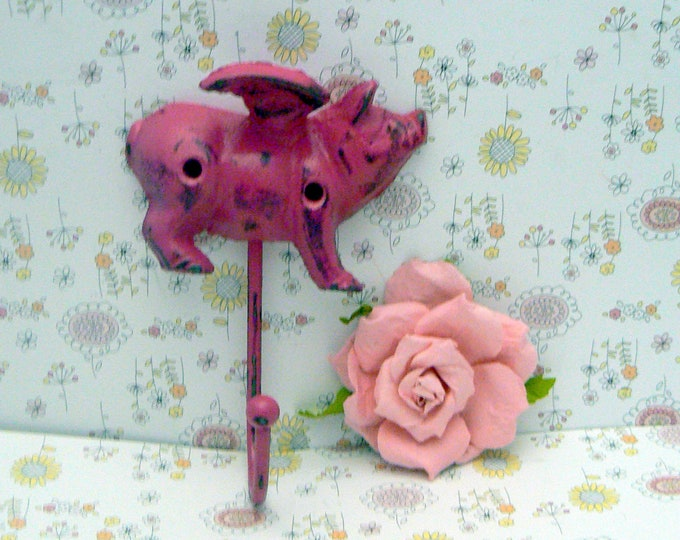 Flying Pig Hot Berry Pink Wall Hook When Pigs Fly Shabby Chic Rustic Farmhouse Decor