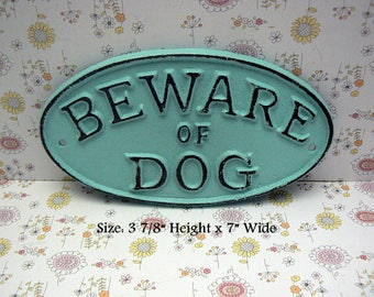 Beware of Dog Cottage Chic Small Cast Iron Sign Beach Blue Gate Fence Home Decor